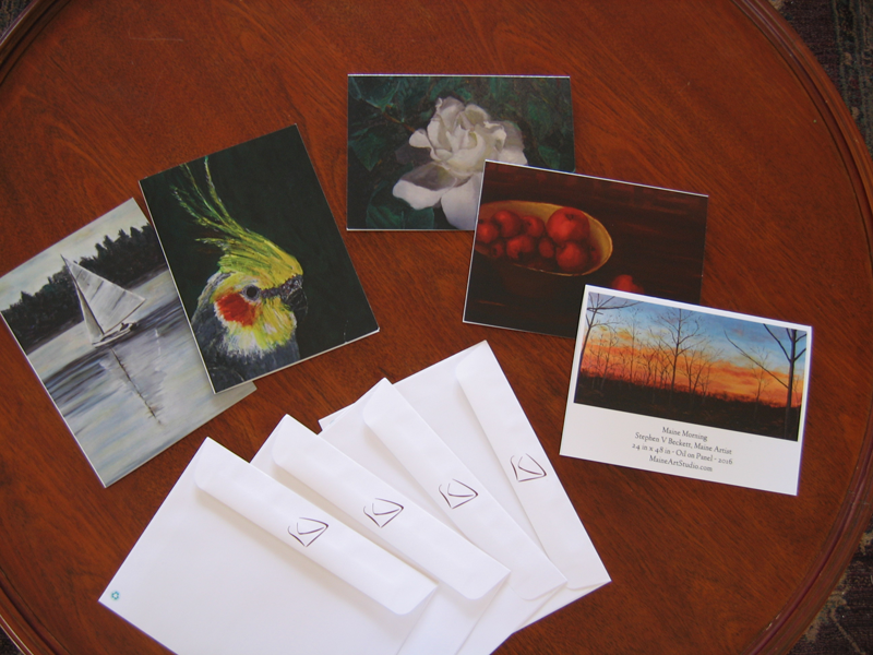 Any of my paintings may be made into coated gift cards.<br>They are $25/dozen with envelopes and free shipping!