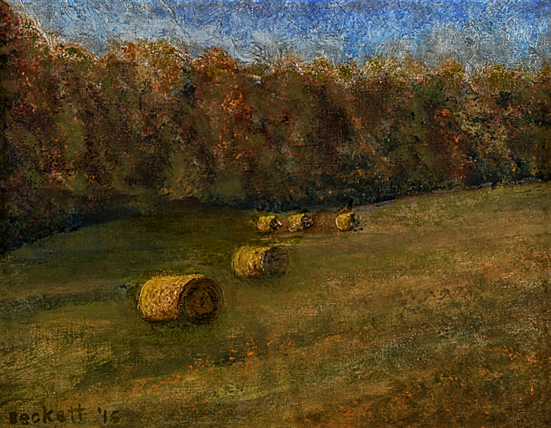 Round Bales   11 in x 14 in Oil on Belgian Linen 2016