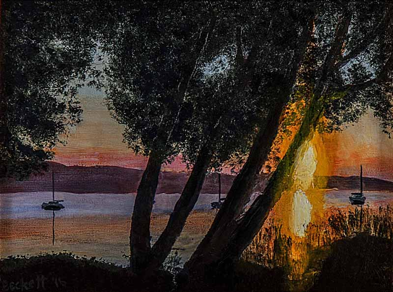 Sunrise, Clear Lake, CA   9 in x 11 in Oil on Art Board 2016