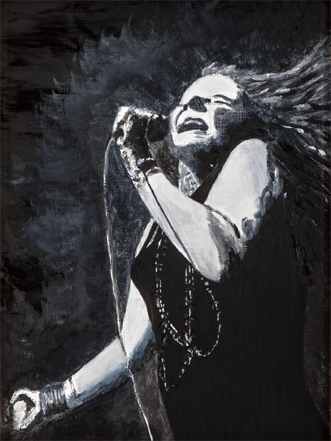 Janice Joplin   9 in x 12 in Oil on Panel 2018   Private Collection of Bill and Sandra Gannon