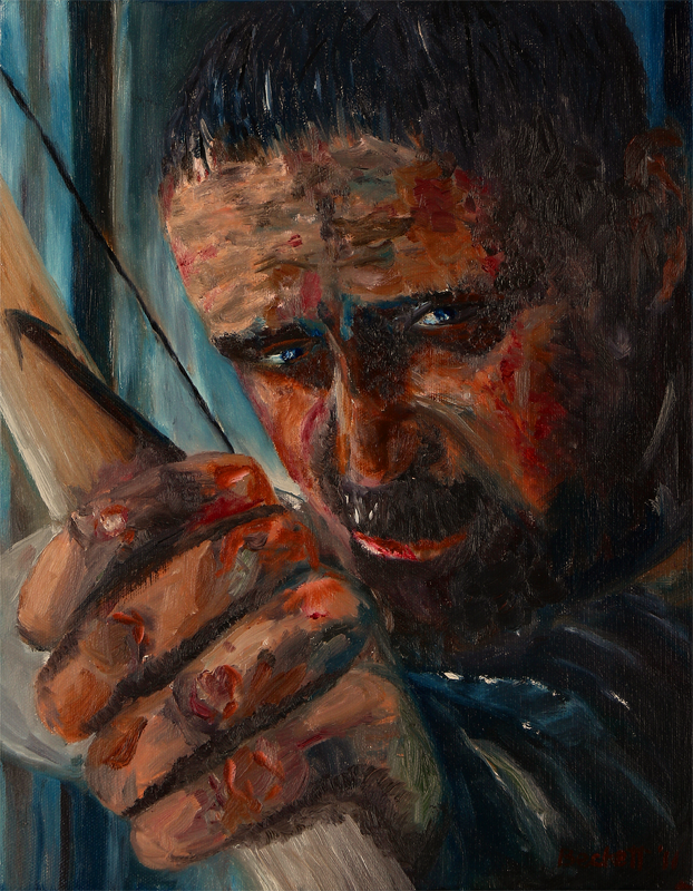 "Robin Hood   11"" x 14"" Oil on Canvas 2011   Cropped Movie Poster Reference"