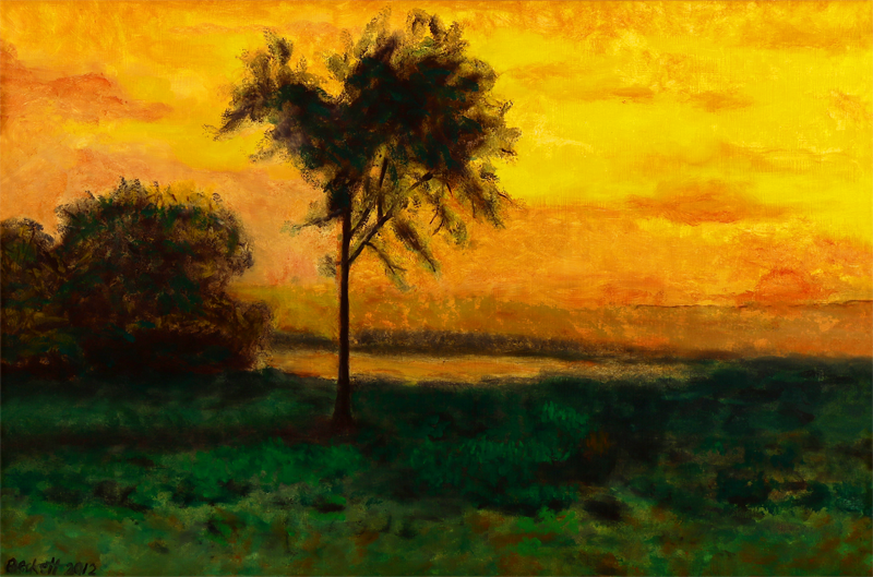 "Study after G. Inness: Sunrise 1887   16"" x 24"" Oil on Muslin 2012"