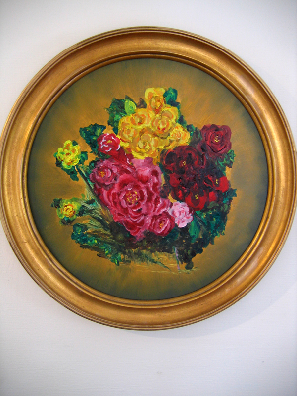 "Flowers that Last   18"" diameter Oil on Panel 2012   Private Collection of Joy Baldwin"