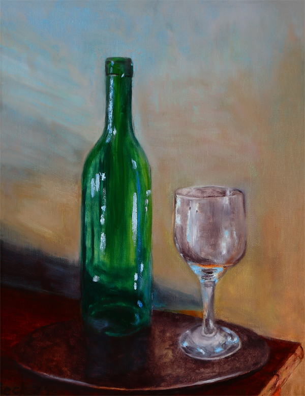 "Still Life - Wine Bottle and Glass    11"" x 14"" Oil on Canvas 2012   Private Collection of Sue McKinley"
