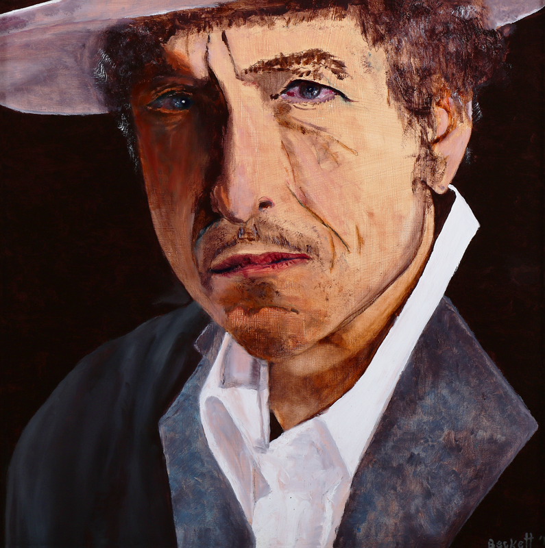 "Bob Dylan    12"" x 12"" Oil on Panel 2012   Private Collection of Sarah Guare"