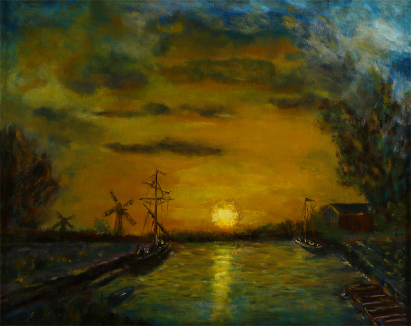 Study: Sunset over the Canal by Jongkind - 16 in x 20 in Oil on Panel - 2012