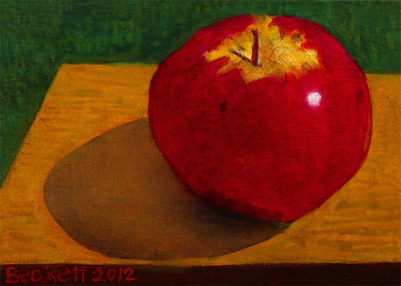 "Apple   5"" x 7"" Oil on Belgian Linen on Panel 2012"