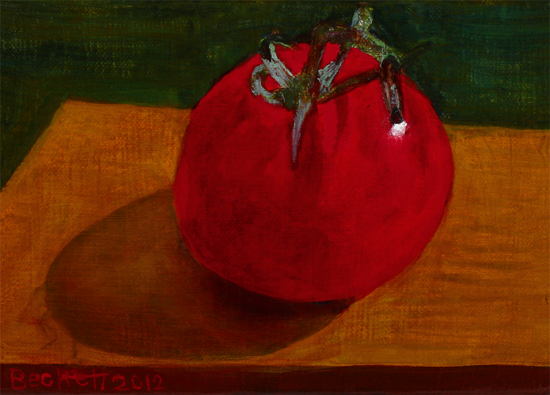 "Tomato   5"" x 7"" Oil on Belgian Linen on Panel 2012"