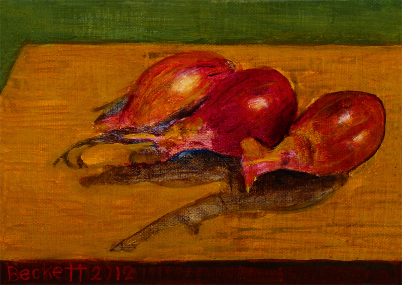 "Shallots   5"" x 7"" Oil on Belgian Linen on Panel 2012"