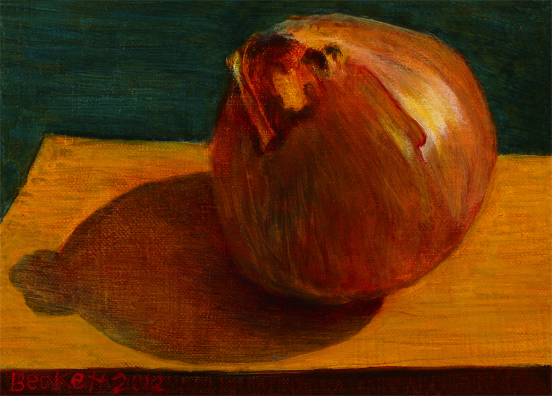 "Yellow Onion   5"" x 7"" Oil on Belgian Linen on Panel 2012"