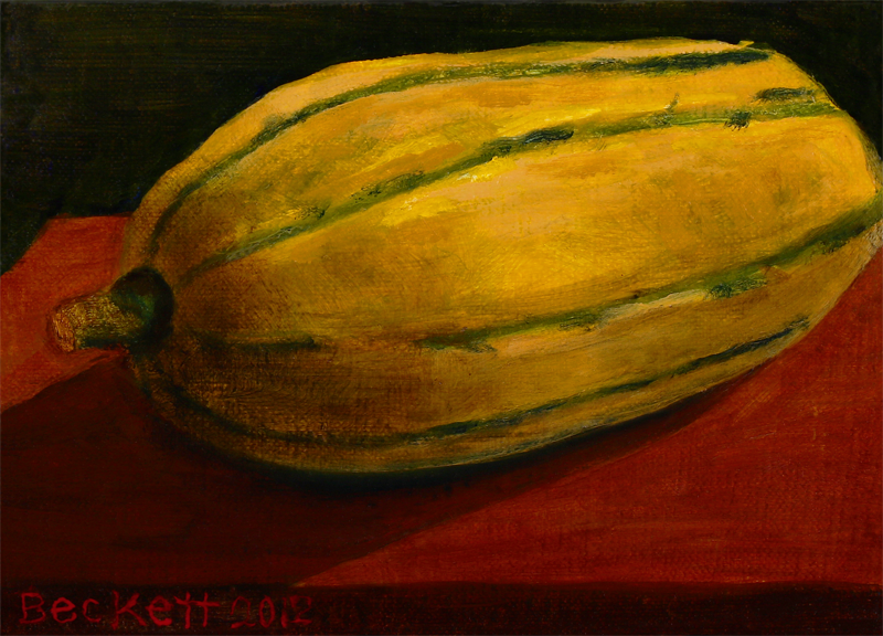 "Delicata Squash   5"" x 7"" Oil on Belgian Linen on Panel 2012"