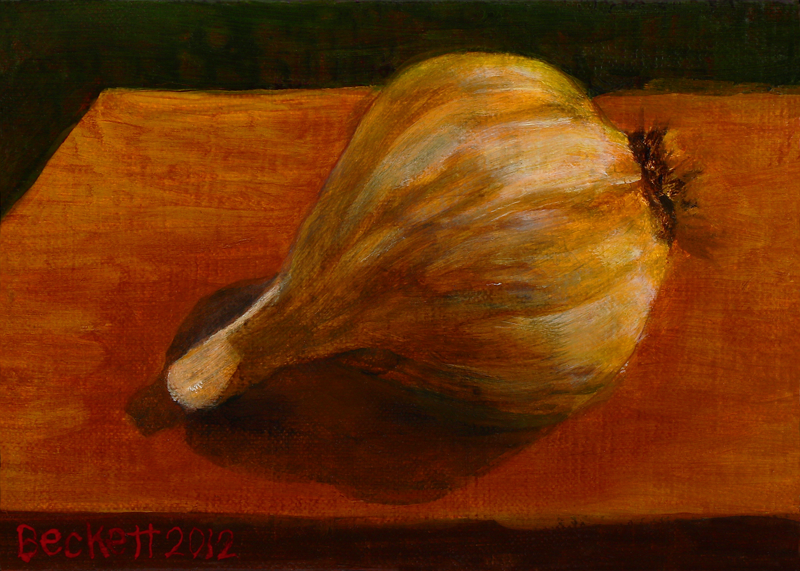 "Garlic Clove   5"" x 7"" Oil on Belgian Linen on Panel 2012"